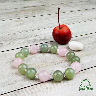 Jade-rózsakvarc 10 mm-es strasszos karkötő