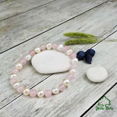 Rózsakvarc karkötő tenyésztett gyönggyel, 6 mm