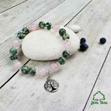 Jade pettyes-rózsakvarc karkötő életfa függővel