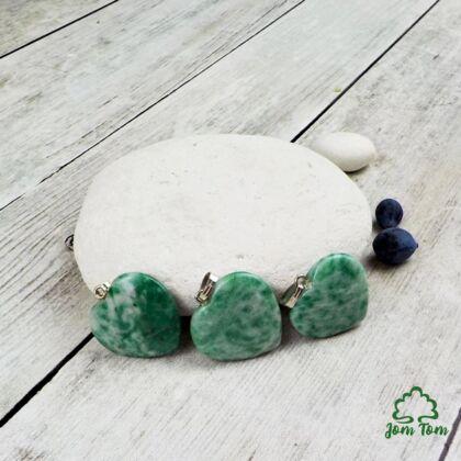 Zöld foltos jade kis szív medál